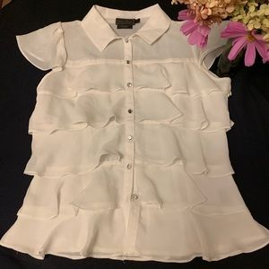 Tops - White flutter sleeve layered top  size S